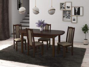 Set masa living Venus1 O cu 4 scaune Boss7 O27A, nuc, extensibila 160/200 cm, lemn masiv/stofa/pal