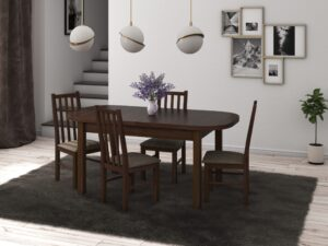 Set masa living Venus1 O cu 4 scaune Boss10 O2, nuc, extensibila 160/200 cm, lemn masiv/stofa/pal