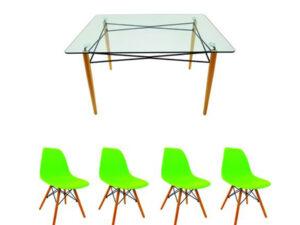 Set masă cu 4 scaune, MB-61, culoare verde