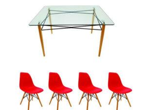Set masă cu 4 scaune, MB-61, culoare roșie