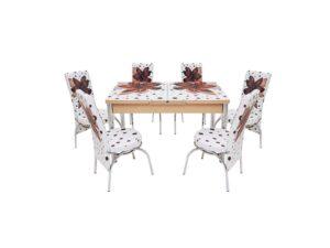 Set masa mercan cu 6 scaune , crini maro