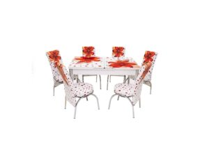 Set masa mercan cu 6 scaune , crini rosii