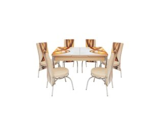 Set masa mercan cu 6 scaune , panglici crem