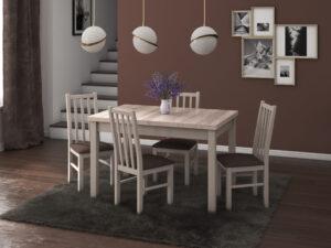 Set masa living Max5 S cu 4 scaune Boss10 S6, sonoma, extensibila 120/150 cm, lemn masiv/stofa/pal