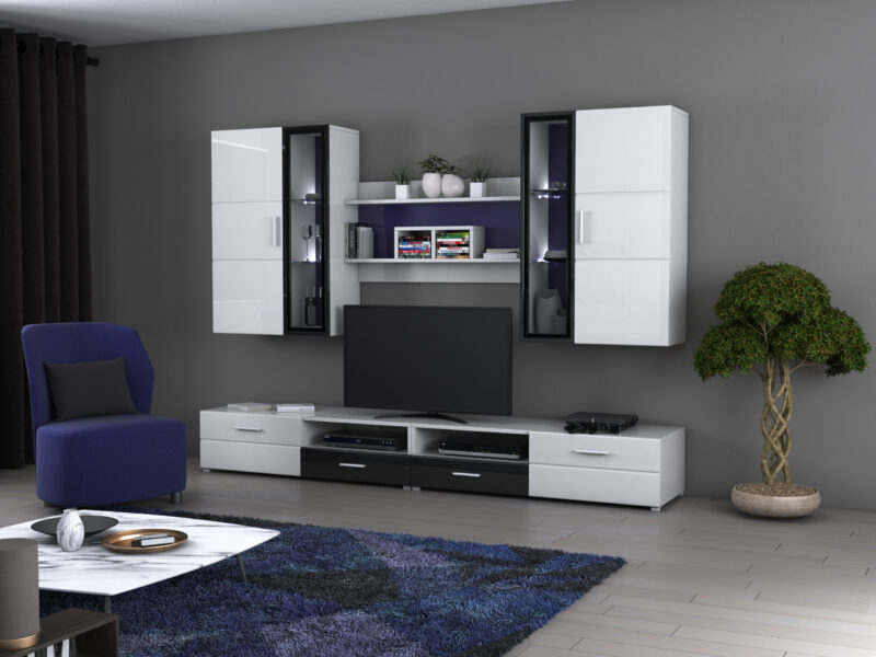 Bibliotecă living WU-2600, alb și negru, din PAL melaminat de 16 mm, contine comoda TV, vitrina si raft suspendat, pretul afisat eset pentru mobila neasamblata