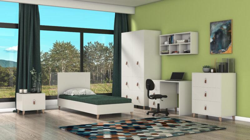 Camera De Tineret Andrei, din PAL melaminat cu grosimea de 16mm, alb, cu pat pentru saltea de 90×200 si birou