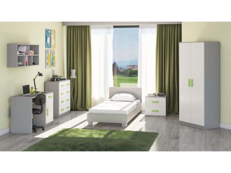 Set mobila Didi, din PAL melaminat de 16mm, culoare verde; somiera este inclusa in pret, nu se poate comanda in alta dimensiune.