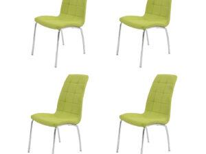 Set 4 scaune bucatarie S-02, culoare Verde, Metal cromat