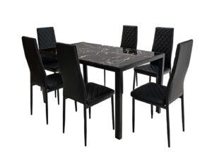 Set masă cu 6 scaune, MBS-21 Negru