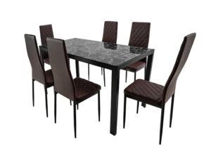 Set masă cu 6 scaune, MBS-21 Maro