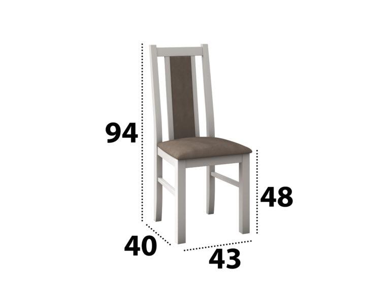 Scaun living Boss14 B18A, alb, 43x94x40 cm, lemn masiv, tapitat cu stofa 279.00