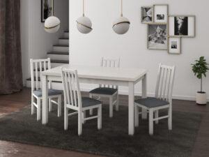 Set masa living Max5 B cu 4 scaune Boss10 B11, alb, extensibila 120/150 cm, lemn masiv/stofa/pal
