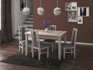 Set masa living Max5 S cu 4 scaune Boss7 S11, sonoma, extensibila 120/150 cm, lemn masiv/stofa/pal