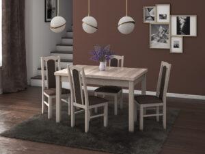 Set masa living Max5 S cu 4 scaune Boss7 S6, sonoma, extensibila 120/150 cm, lemn masiv/stofa/pal