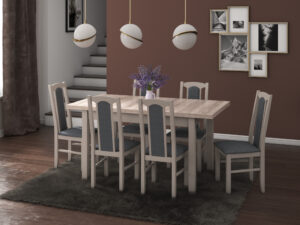 Set masa living Max5 S cu 6 scaune Boss7 S11, sonoma, extensibila 120/150 cm, lemn masiv/stofa/pal