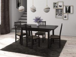 Set masa living Max5 W cu 4 scaune Boss10 W2, wenge, extensibila 120/150, lemn masiv/stofa/pal