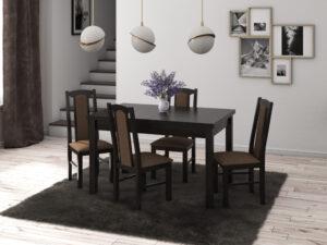 Set masa living Max5 W cu 4 scaune Boss7 W15, wenge, extensibila 120/150 cm, lemn masiv/stofa/pal