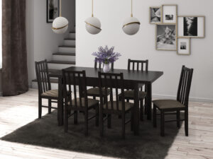 Set masa living Max5 W cu 6 scaune Boss10 W2, wenge, extensibila 120/150, lemn masiv/stofa/pal