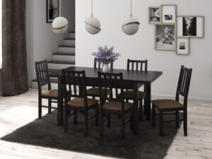 Set masa living Max5 W cu 6 scaune Boss4 W15, wenge, extensibila 120/150 cm, lemn masiv/stofa/pal