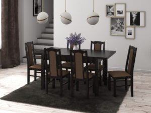 Set masa living Max5 W cu 6 scaune Boss7 W15, wenge, extensibila 120/150 cm, lemn masiv/stofa/pal