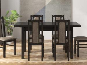 Set masa living Max5 W cu 6 scaune Boss7 W2, wenge, extensibila 120/150 cm, lemn masiv/stofa/pal
