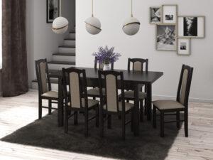 Set masa living Max5 W cu 6 scaune Boss7 W27A, wenge, extensibila 120/150 cm, lemn masiv/stofa/pal