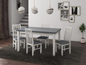 Set masa living Modena1 BG cu 4 scaune Boss10 B11, alb/grafit, extensibila 140/180 cm, lemn masiv/stofa/pal
