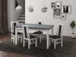 Set masa living Modena1 BG cu 4 scaune Boss14 B24Z, alb/grafit, extensibila 140/180 cm, lemn masiv/stofa/pal