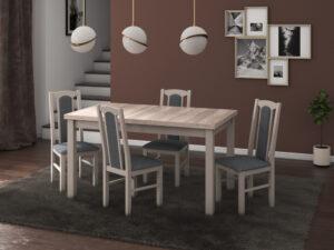Set masa living Modena1 S cu 4 scaune Boss7 S11, sonoma, extensibila 140/180 cm, lemn masiv/stofa/pal