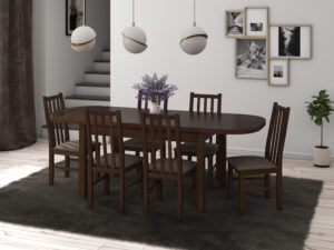 Set masa living Venus1 O cu 6 scaune Boss10 O2, nuc, extensibila 160/200 cm, lemn masiv/stofa/pal