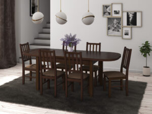 Set masa living Venus1 O cu 6 scaune Boss4 O15, nuc, extensibila 160/200 cm, lemn masiv/stofa/pal