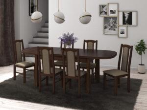 Set masa living Venus1 O cu 6 scaune Boss7 O27A, nuc, extensibila 160/200 cm, lemn masiv/stofa/pal