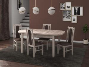 Set masa living Venus1 S cu 4 scaune Boss7 S6, sonoma, extensibila 160/200 cm, lemn masiv/stofa/pal