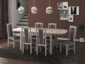 Set masa living Venus1 S cu 6 scaune Boss7 S11, sonoma, extensibila 160/200 cm, lemn masiv/stofa/pal