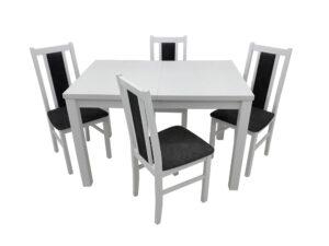 Set masa living Max5 B cu 4 scaune Boss14 B24Z, alb, extensibila 120/150 cm, lemn masiv/stofa/pal