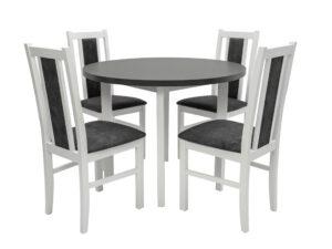 Set masa Living Poli2 Bialy/Grafit cu 4 scaune Boss14 Bialy 24Z, lemn masiv/stofa/pal