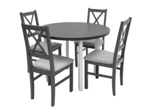 Set masa Living Poli2 Bialy/Grafit cu 4 scaune Nilo10 Grafit 16X, lemn masiv/stofa/pal