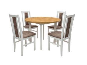 Set masa Living Poli2 Bialy/Grandson cu 4 scaune Boss14 Bialy 18A, lemn masiv/stofa/pal