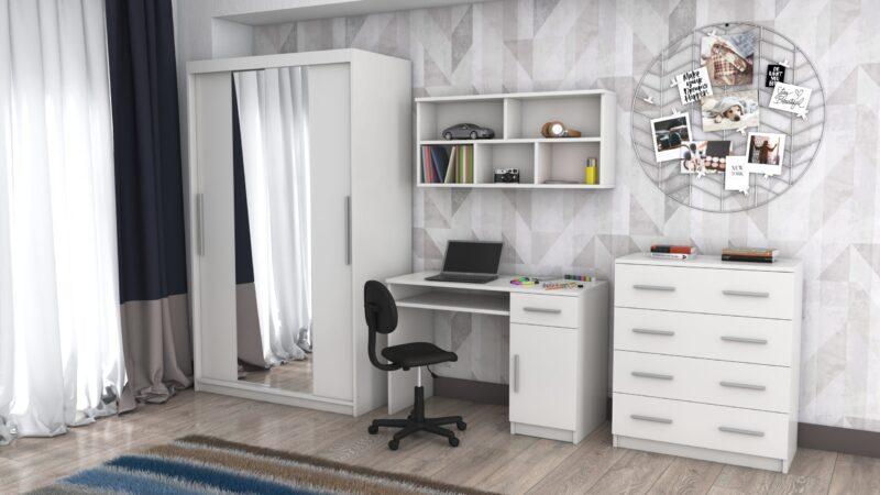 Camera de tineret TOBI, BIS 01, din PAL melaminat cu grosime de 16 mm, alb; scaunul si elementele de decor nu sunt incluse in pret; nu se poate comanda in alta dimensiune, garantie 2 ani, livrare in toata tara.