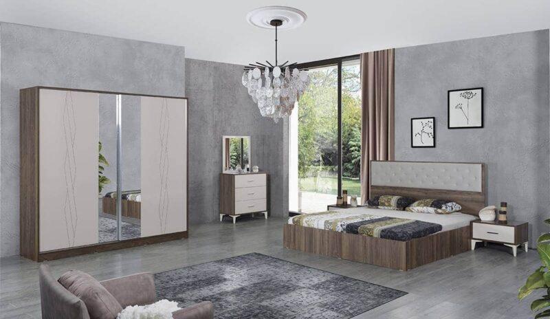 Dormitor Bucuresti maro, din PAL melaminat, cu grosimea de 18 mm si dulap cu usi culisante si pat pentru saltea de 160×200