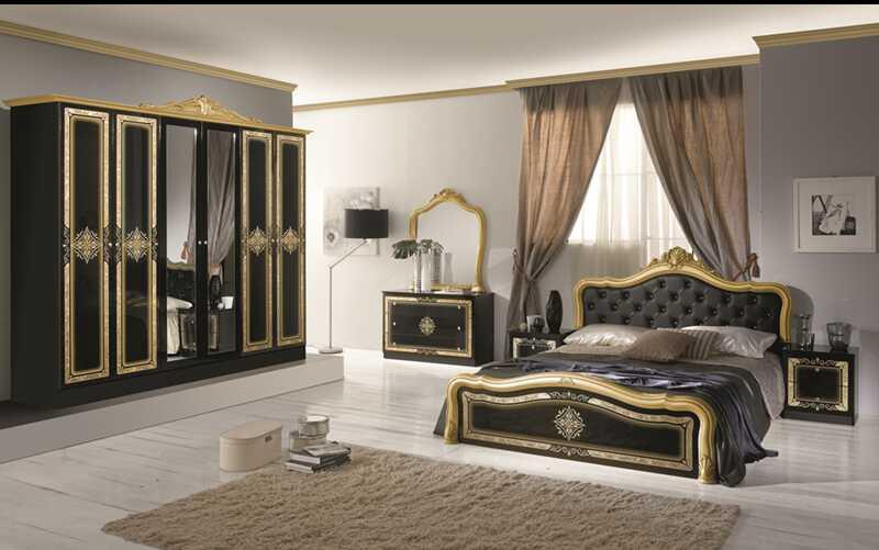 Dormitor Luisa, negru, din PAL melaminat cu grosimea de 16 mm si pat pentru saltea de 160×200
