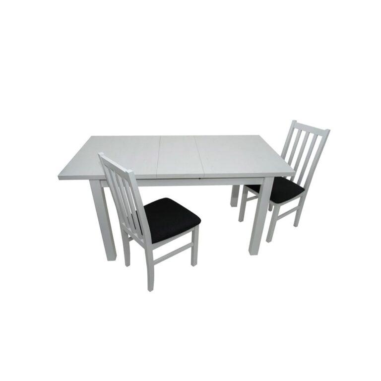 Masa living Max5 B, alb, extensibila 120/150 cm, lemn masiv de fag/pal