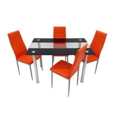 Masa sticla cu 4 scaune, Portocaliu, MB-31+S-11 P