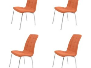 Set 4 scaune bucătărie S-02, culoare portocalie