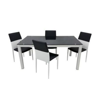 Set masa bucatarie cu 4 scaune, Negru/Alb, MB-47NA+S-89NA