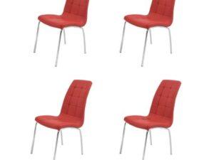 Set 4 scaune bucătărie S-02, culoare roșie